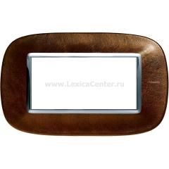 Legrand Bticino Axolute HB4804SLS Кожа Кофе Рамка 4 мод эллипс