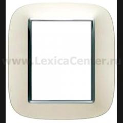 Legrand Bticino Axolute hb4826sa Жемчужное Серебро Рамка 3+3 мод эллипс