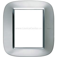 Legrand Bticino Axolute HB4826XC Зеркальный Алюминий Рамка 3+3 мод эллипс