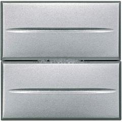 Legrand Bticino Axolute HC4036/2 Алюминий Axial Выключатель кнопочный 10А (2 NO контакта), 2 мод