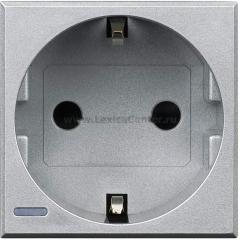 Legrand Bticino Axolute HC4141W Алюминий Розетка с/з с защитными шторками, безвинт зажим, возможность индикации 2 мод