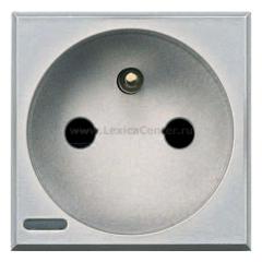 Legrand Bticino Axolute HC4142 Алюминий Розетка с/з с защитными шторками,10/16 А 250 В,французский стандарт