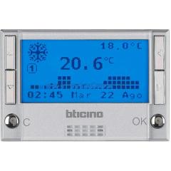 Legrand Bticino Axolute HC4451 Алюминий Термостат электронный недельный батарея 2х1,5V 3 мод