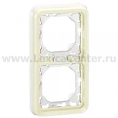 Legrand Plexo Белый Рамка 2-ая вертикальная с суппортом, для внутреннего монтажа IP55 (арт. 69696)