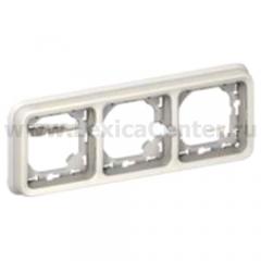 Legrand Plexo Белый Рамка 3-ая горизонтальная с суппортом, для внутреннего монтажа IP55 (арт. 69698)