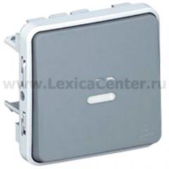 Legrand Plexo Серый Мех Выключатель 1-клавишный кнопочный с подсветкой НО-контакт IP55 (арт. 69542)