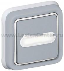 Legrand Plexo Серый Выключатель 1-клавишный с/п кнопочный с шильдиком, встраиваемый, в сборе IP55 (арт. 69824)