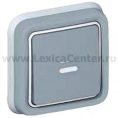 Legrand Plexo Серый Выключатель 1-клавишный с/п кнопочный(НО+НЗ- контакт)встраиваемый, в сборе IP55 (арт. 69821)