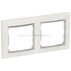 Legrand Valena Белый/Серебряный штрих Рамка 2-ая вертикал.