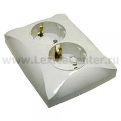 Lexel Дуэт белый Розетка двойная с заземлением (SE WDE000124)