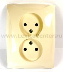 Lexel Дуэт бежевый Розетка двойная без заземления (SE WDE000220)