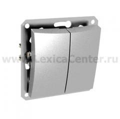 Lexel Дуэт серебро Двухклавишный выключатель (сх.5) с подсветкой (SE WDE000353)