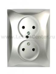 Lexel Дуэт серебро Розетка двойная без заземления (SE WDE000320)