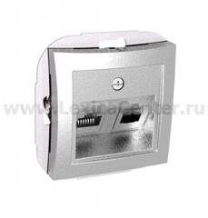 Lexel Дуэт серебро Розетка двойная RJ11+RJ45 телефон+компьютер кат. 5e (SE WDE000385)