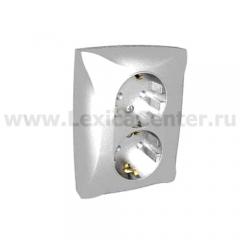 Lexel Дуэт серебро Розетка двойная с заземлением с защитными шторками (SE WDE000326)