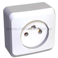Lexel Этюд 1-ая розетка без заземления белый (накладные) (PA16-001b)