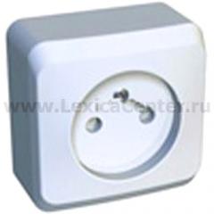 Lexel Этюд 1-ая розетка без заземления, со шторками белый (накладные) (PA16-002b)