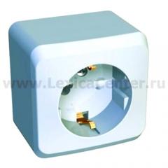 Lexel Этюд 1-ая розетка с заземлением, со шторками белый (накладные) (PA16-004b)