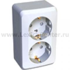 Lexel Этюд 2-ая розетка без заземления белый (накладные) (PA16-005b)
