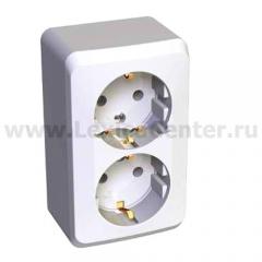 Lexel Этюд 2-ая розетка с заземлением белый (накладные) (PA16-007b)