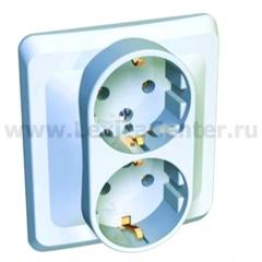 Lexel Этюд 2-ая розетка с заземлением белый (скр.устан.) (PC16-007b)