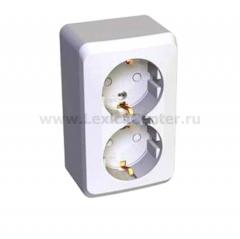 Lexel Этюд 2-ая розетка с заземлением, со шторками белый (накладные) (PA16-008b)