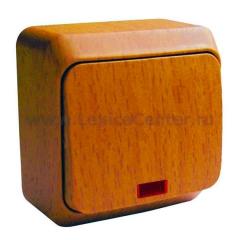 Lexel Этюд Дача Темный бук Выключатель 1-клавишный с подсветкой (BA10-005T)