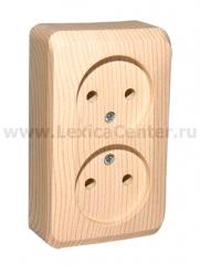 Lexel Этюд Двойная розетка без заземления без шторок (накладные) (PA16-005d)