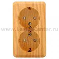 Lexel Этюд Двойная розетка с заземлением со шторками (накладные) (PA16-008d)