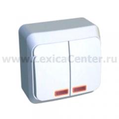 Lexel Этюд Двухклавишный выключатель с подсветкой (СХ.5) белый (накладные) (BA10-006b)