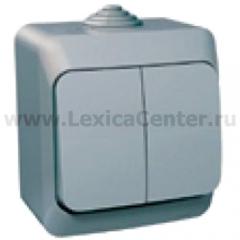 Lexel Этюд Двухклавишный выключатель (сх.5) серый (накладные) (BA10-042c)