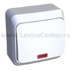 Lexel Этюд Одноклавишный выключатель с подсветкой (СХ.1) белый (накладные) (BA10-005b)