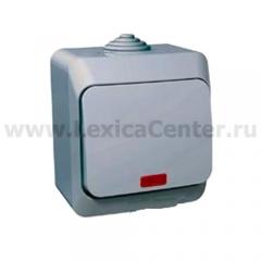 Lexel Этюд Одноклавишный выключатель с подсветкой (СХ.1)сер. (накладные) (BA10-045c)