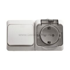Lexel Этюд Серый Блок Переключатель 1-клав + розетка с заземлением со шторками наружный IP44