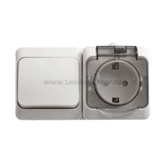 Lexel Этюд Серый Блок Выключатель 1-клав + розетка BPA16-241C наружный IP44