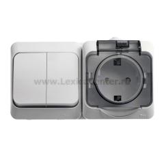 Lexel Этюд Серый Блок Выключатель 2-клав + розетка с заземлением со шторками наружный IP44