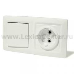Lexel Этюд Выключатель 1-клав+розетка BPA16-241B
