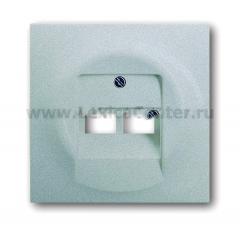 Накладка для розетки двойной телефонной/компьютерной серебристый металлик Impuls (ABB) [BJE1803-02-783] 1753-0-0084