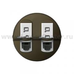 Накладка для розетки компьютерной двойной RJ45 графит Celiane (Legrand) 64936