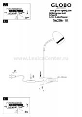 Настольная лампа на прищепке Globo 56206-1K Manjola