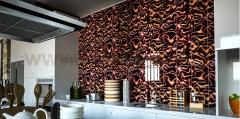 Панель Артполе, 3D стекло, BIG CLOTH, коричневый, 600х600мм, 0,36м2, 1шт.