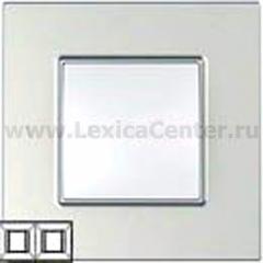 Рамка 2 поста серебро Unica Quadro (Schneider Electric) MGU6.704.55