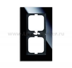Рамка 2 поста стекло черное carat (ABB) [BJE1722-825] 1754-0-4323