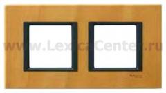 Рамка 2 поста светлая кожа Unica Class (Schneider Electric) MGU68.004.7P1