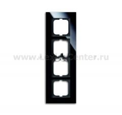 Рамка 4 поста стекло черное carat (ABB) [BJE1724-825] 1754-0-4325
