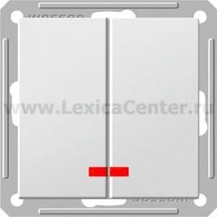 Выключатель Wessen 59 двухклавишный с индикацией белый (VS516-251-1-86)