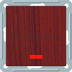 Выключатель Wessen 59 с/у без рамки одноклавишныйС индик. (250В, 16АХ) мореный дуб (VS116-153-9-86)